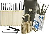 Lock Cowboy Kit de crochetage de serrure 20 pièces avec cadenas Transparent, carte de crédit et guide pour serruriers professionnels et débutants...