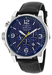 Invicta 20131 Men's I-Force Chrono Black Leather Blue Dial Ss Bezel Watch