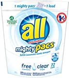 All Mighty Pacs , Free Clear Laundry Detergent, 72 Count