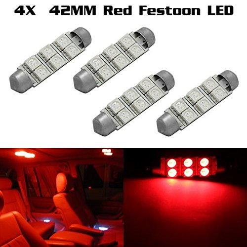 Partsam 4x Red 6SMD LED MAP/DOME INTERIOR LIGHTS BULBS/BULB 42MM FESTOON For 2001-2012 GMC Sierra 1500 (2000 Xterra Led Interior Lights compare prices)