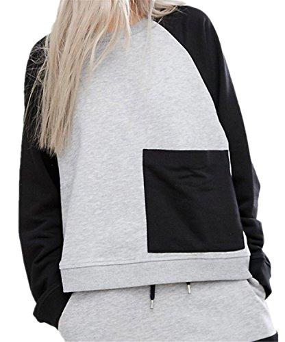 Contrast Color Block Tasca Raglan Sleeve Felpa T-Shirt Maglietta Superiore Cima Top grigio nero XL