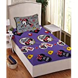 Athom Trendz Disney Minnie Mouse 104 TC Cotton Single Bedsheet With 1 Pillow Cover - Modern, Multicolour