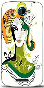 Snoogg Colorful Abstract Woman Wih Green Leaf Designer Protective Back Case Cover For HTC One S