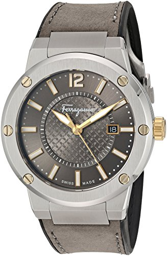 Salvatore-Ferragamo-Mens-F-80-Swiss-Quartz-Stainless-Steel-and-Leather-Automatic-Watch-ColorBlack-Model-FIF070016