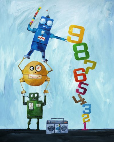 Cici Art Factory Wall Art, Robots Love Numbers, Medium