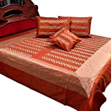 Little India Jaipuri Hand Floral Embroidery Silk 5 Piece Double Bedding Set - Red  (DLI3SLK345)