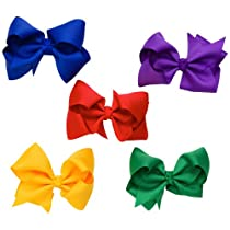 "Set of 5 bright 3.5"" grosgrain hair bows for baby & girl by juDanzy"