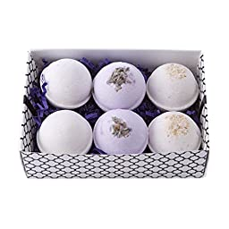 Bath Bomb Gift Set w/ Vanilla, Lavender and Oatmeal, Milk & Honey Scented Fizzies Bath Balls | Set of 6, Handmade in USA From Melrose Soaps
