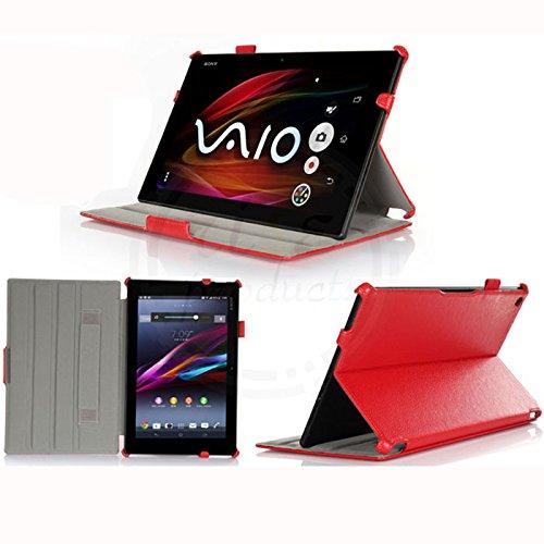 rise products co., ltd.全 3色4点セット防指紋フィルム1枚タッチペン1本付SONY xperia Z2 Tablet カバー ケース docomo so-05f au sot21 wi-fiモデル sgp512 クレードルスタンド充電対応 オートスリープ機能付 最大4段階スタンド角度調整 ペンホルダー ハンドストラップ付 最高品質の sony xperia z2 tablet専用高級ケース (z2 tablet スタンド充電高級仕様ケース レッド)