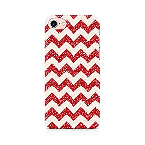 Red Glitter Chevron Back Cover Mobile Case for Apple iPhone 7