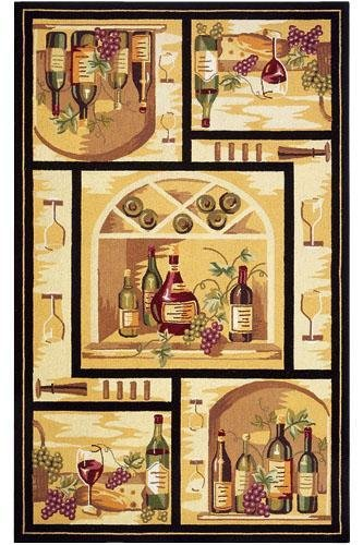 "Wine Cellar Area Rug, 1'8""X2'6"", Gold front-567808"