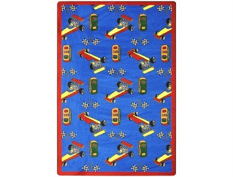 "Joy Carpets Playful Patterns Children's Pit Stop Area Rug, Blue, 3'10"" x 5'4"" - 1"