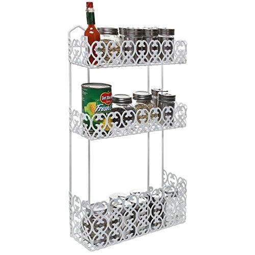decorative white wall mounted 3 tier shelf baskets kitchen spice rack bathroom ebay. Black Bedroom Furniture Sets. Home Design Ideas