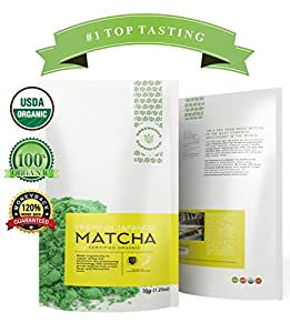Greenhouse Superfoods :: Rated Top Tasting Matcha on Amazon :: 5% Donated to Cancer Cure Research :: Organic Ceremonial Green Matcha Tea Powder :: 35g Bonus Size ::120% Money Back Guarantee