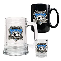 San Jose Earthquakes MLS 15oz Tankard, 15oz Ceramic Mug & 2oz Shot Glass Set - Primary Team Logo