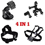 Dazzne(TM) 4 IN 1 Head Strap Mount + Chest Belt Strap Mount + Auto Suction Cup + Handlebar Seatpost for GoPro HD Hero 1 2 3 3+ 4 Camera