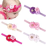 Jastore® Baby Girl's Cute Headband Hair Bands Rose Flower Newborn Headbands (5 Pack)