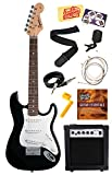 Squier by Fender Mini Strat Electric Guitar Bundle with 10-Watt Guitar Amp, Instrument Cable, Strings, Tuner, Strap, Stringwinder, Picks, Instructional DVD, and Polishing Cloth - Black
