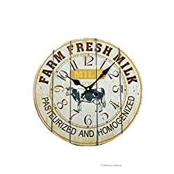 Vintage Style Farm Fresh Cows Milk Country Wall Kitchen Clock