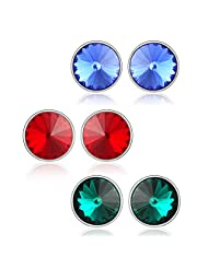 8 Mm Swarovski Elements Studs Combo - Blue Green & Red Earrings By Mahi CO1104179R8mm
