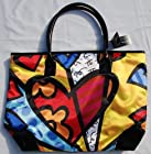 Romero Britto Large Heart Tote Bag Shiny Black Handle Purse Fashion Travel New