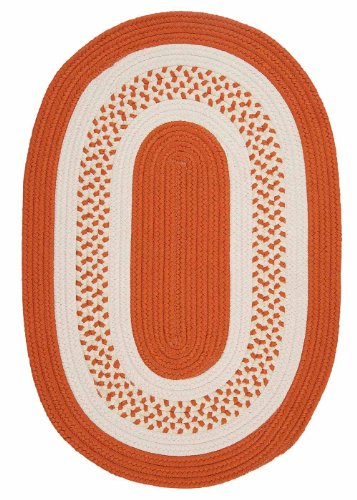 Indoor/Outdoor American Made Textured Rug 5-Feet by 8-Feet Oval Orange Carpet