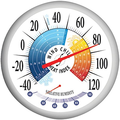 Springfield – 13.25″ Thermometer With Hygrometer * Springfield – 13.25″ Thermometer With Hygrometer Wind Chill/Heat Index Thermometer With Hygrometer Bold Silk Screened Graphics F Scale Humidity Rang