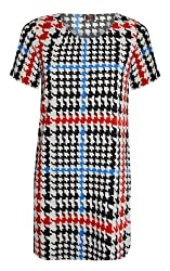 Ladies Womens Printed Tunic Print Short Bodycon Stretch Mini Dress Top Dog Tooth