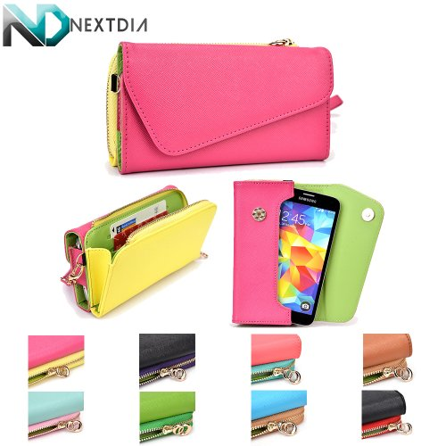 Samsung Galaxy S5 Womens Wristlet Clutch Case {Semi-Gloss Deep Pink And Pale Yellow With Matte Olive Green} With Credit Card Holder + Nd Cable Tie