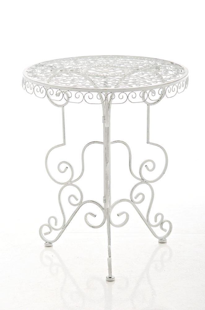 CLP handgefertigter runder Eisentisch MINORE in nostalgischem Design, Durchmesser Ø 61,5 cm (aus bis zu 2 Farben wählen) antik weiß online kaufen