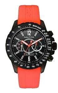 Nautica Herren-Armbanduhr XL Chronograph Quarz Silikon A21026G