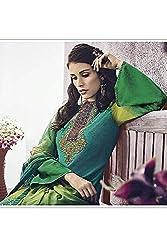 Like a diva JINAAM Lime Green Cotton Party Wear Salwar Kameez / Churidar Dress material