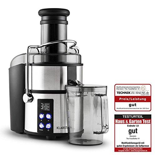 Klarstein The-Foodfather IV Centrifuga di Succhi Robot Multifunzione Mixer, Ciotola mixer, Tritatutto, Grattugia con 3 inserti, Shaker (800 Watt, 10 Pezzi, Boccale da 1,2 litri)