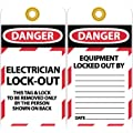 "NMC LOTAG16 ""DANGER - ELECTRICIAN LOCK-OUT"" Lockout Tag, Unrippable Vinyl, 3"" Length, 6"" Height, Black/Red on White (Pack of 10)"