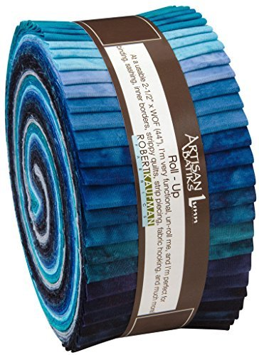 "Lunn Studios PRISMA DYES OPEN WATERS BATIKS Roll Up 2.5"" Precut Cotton Fabric Quilting Strips Jelly Roll Assortment Robert Kaufman RU-370-40"