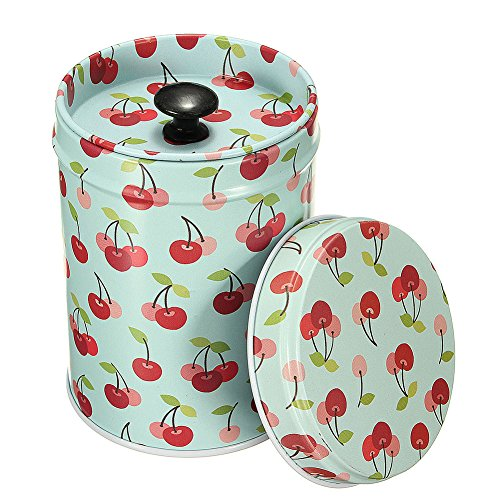 Mwfus Vintage Double Cover Tea Caddy Box Container Food Storage Tin Boxes Case Canisters & Jars 0