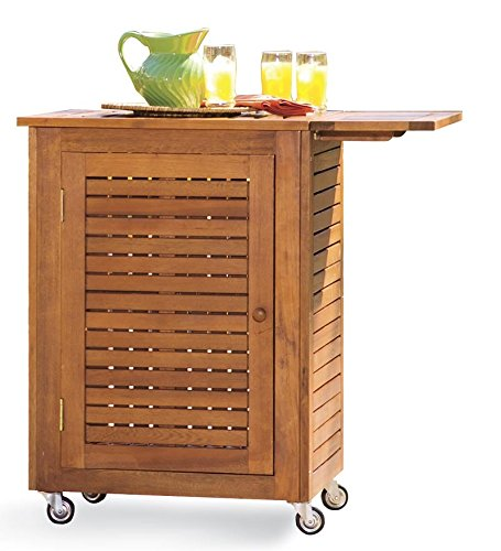 Wooden Patio Serving Carts ~ Plow hearth small outdoor storage serving and