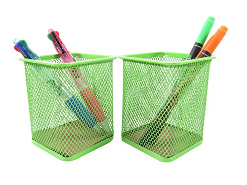 "Mesh Wire Pen Pencil Holder Square 3 13/16"" x 3 1/8"" Neon Green (Set of 2)"