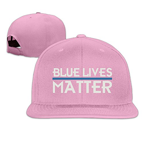 [Adult Police Blue Lives Matter Thin Blue Line Snapback Flatted Baeball Cap Pink] (Cheap Police Hats)