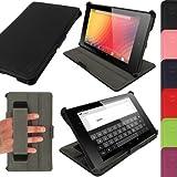 igadgitz Premium Exécutif Noir Cuir PU Etui Housse Case Cover pour Google Nexus 7 FHD 2013 Modèle 2ème Génération Avec Courroie de Main + Auto Mise en Veille Réveil + Support Multi Angles + Film de Protection