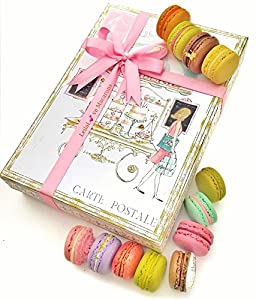 French Macarons - 24 Paris Fine Patisserie Macarons- Fruits and Chocolate Assorted of 10 Flavors-fancy Box