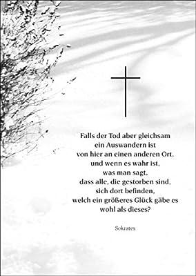 Bewegende Beileidskarte mit einem Sokrates Zitat als Trauerspruch