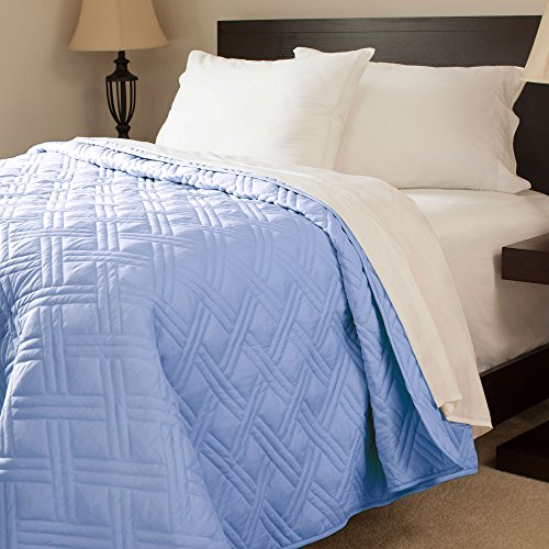 Best Deals! Lavish Home Solid Color Bed Quilt, Full/Queen, Blue