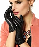 Bestselling Women's Nappa Leather Plush Lined Winter Gloves Leather Covered Buttons by NYC Leather Factory Outlet