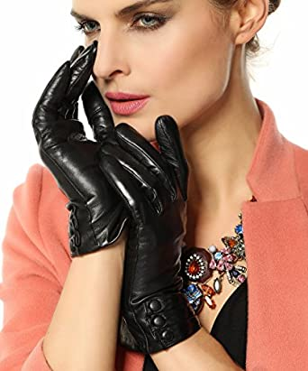 Bestselling Women's Nappa Leather Plush Lined Winter Gloves Leather Covered Buttons (XS, Black (2014 New))