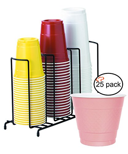TigerChef TC-20408 3-Section Cup and Lid Organizer Wire Rack with 25 Pink Disposable 9 Oz Plastic Party Cups and Breakroom Organizer Countertop Cup Dispenser