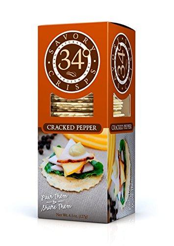 34 Degrees Cracked Pepper Crispbread 5 Oz (12 Pack)