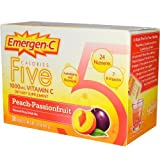 Alacer, Emergen-C, Five Calories, 1000 mg Vitamin C, Peach-Passionfruit, 30 Packets, 4.7 g Each