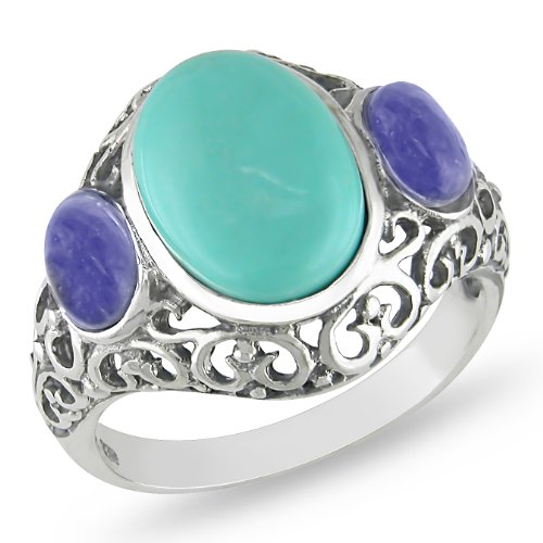 Sterling Silver Oval Turquoise and Sodalite Gemstones Cocktail Ring
