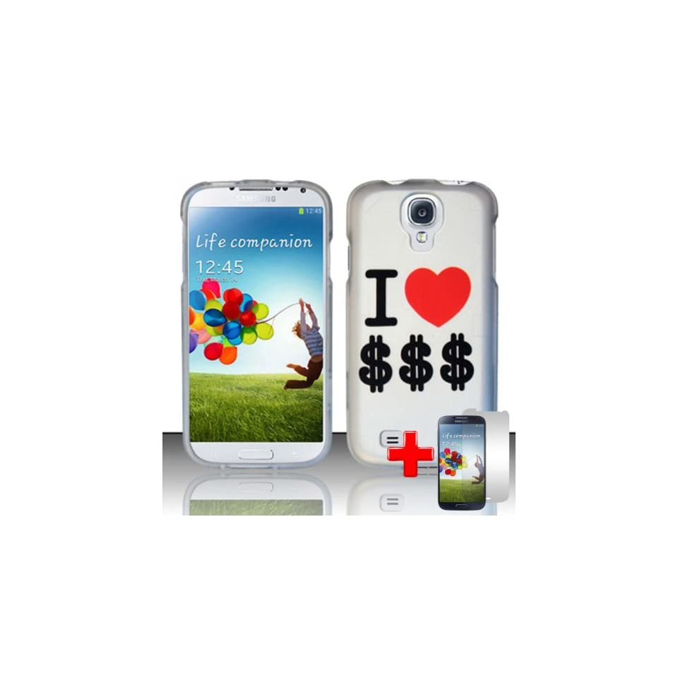 """Samsung Galaxy S4 (Verizon/AT&T/Sprint/T Mobile/Ting/U.S. Cellular/Cricket) 2 Piece Snap On Rubberized Hard Plastic Case Cover, """"I Love Money"""" Red Heart White Cover + LCD Clear Screen Saver Protector Cell Phones & Accessories"""